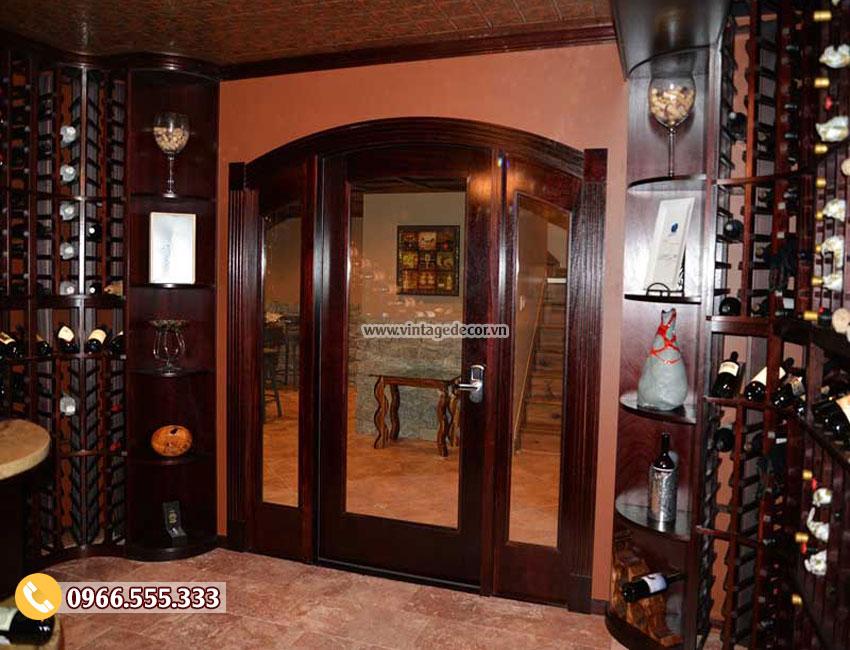 Mẫu thiết kế hầm rượu vang gỗ sồi đẹp HR14