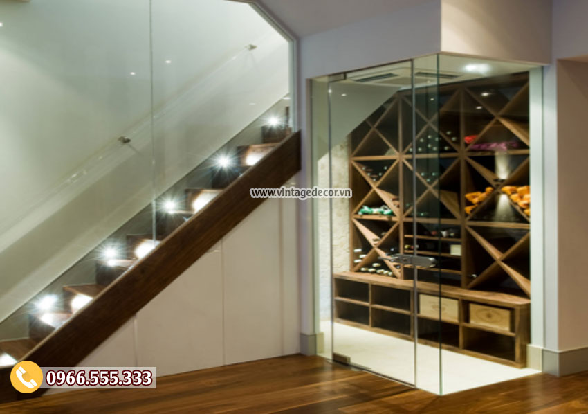 Mẫu thiết kế hầm rượu vang gầm cầu thang HR31