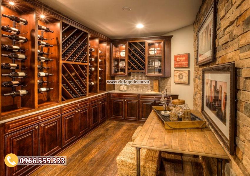 Mẫu thiết kế hầm rượu vang gỗ sồi HR29