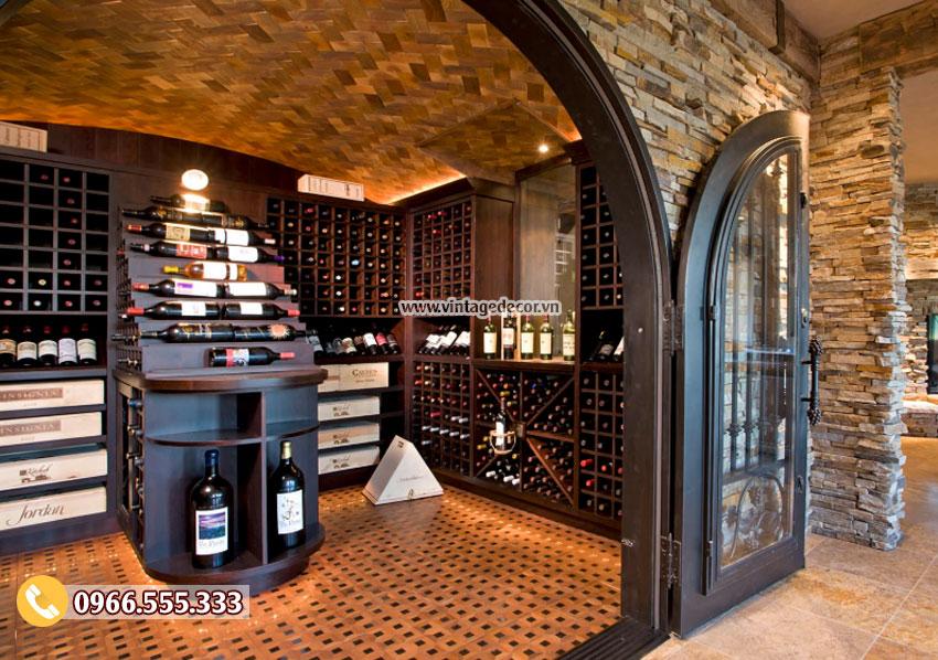 Mẫu thiết kế hầm rượu vang gỗ gụ HR30