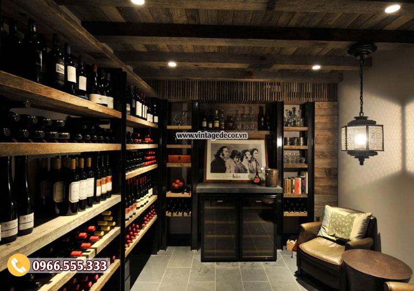 Mẫu thiết kế hầm rượu vang gỗ thông HR32