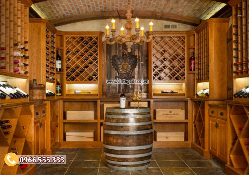 Mẫu thiết kế hầm rượu vang trong nhà HR34