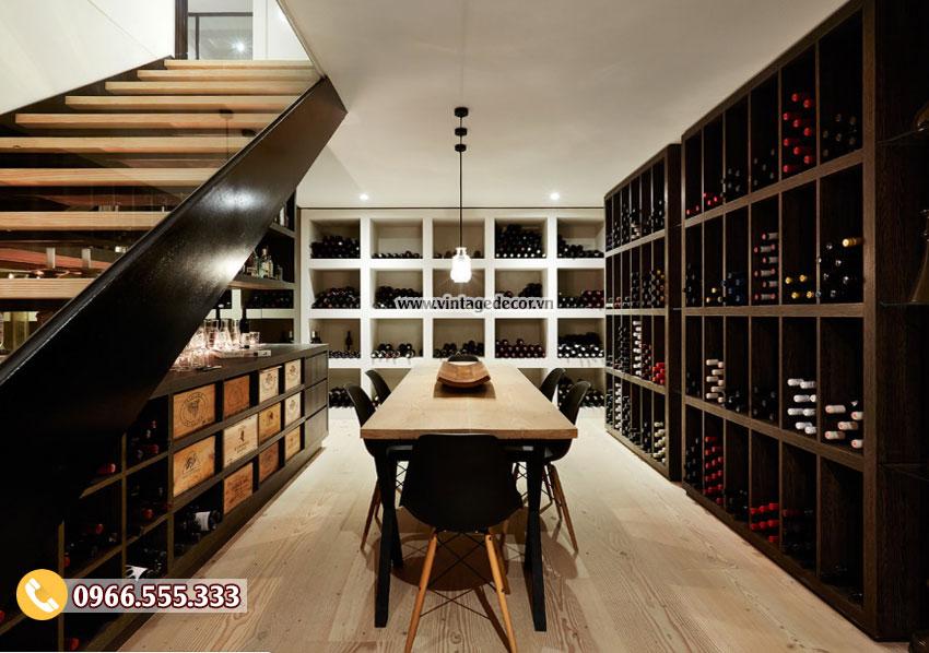 Mẫu thiết kế hầm rượu vang trong nhà HR35