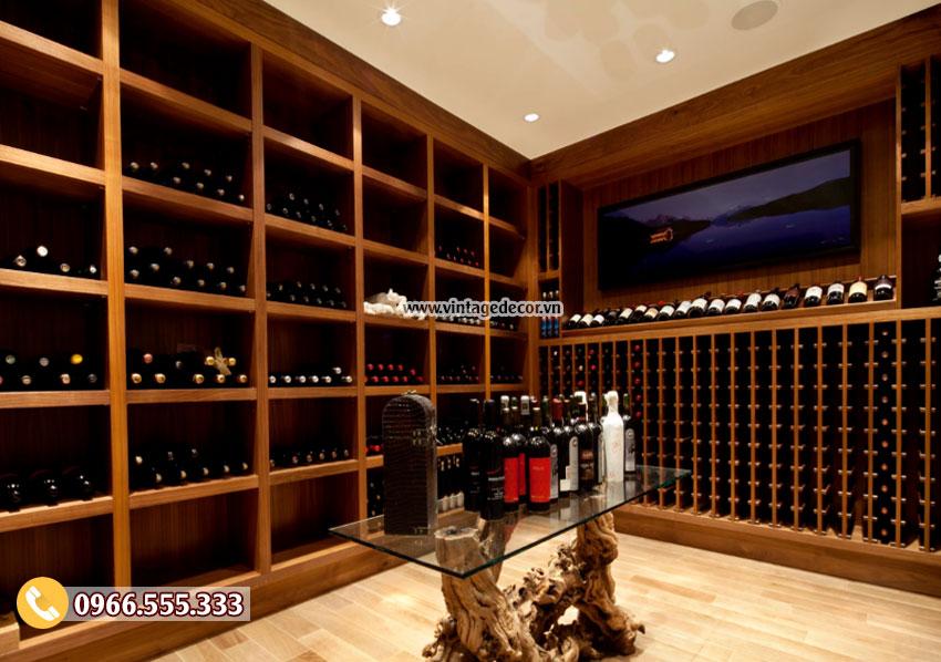 Mẫu thiết kế hầm rượu gỗ sồi HR39