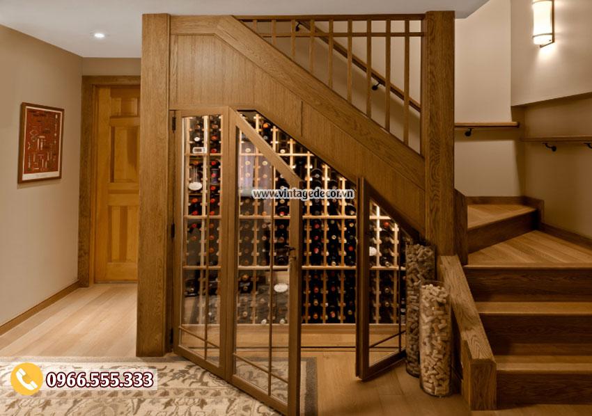 Mẫu thiết kế hầm rượu gầm cầu thang HR44