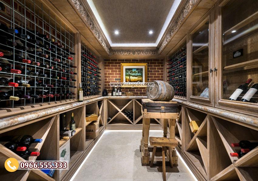 Mẫu thiết kế hầm rượu cổ điển đẹp HR45