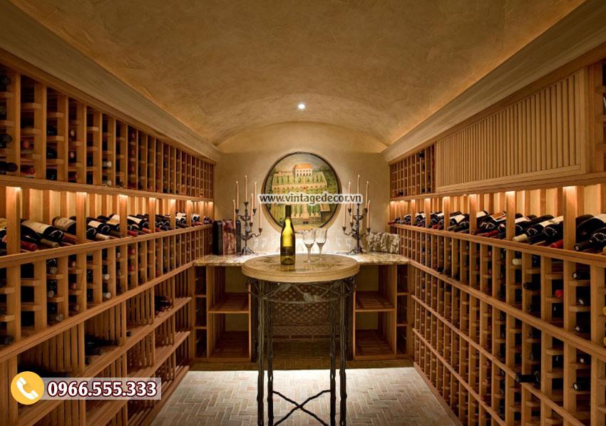 Mẫu thiết kế hầm rượu gỗ thông nhập khẩu HR46