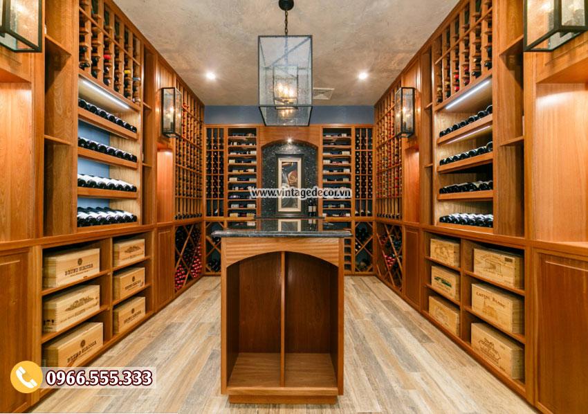 Mẫu thiết kế hầm rượu gỗ sồi HR49