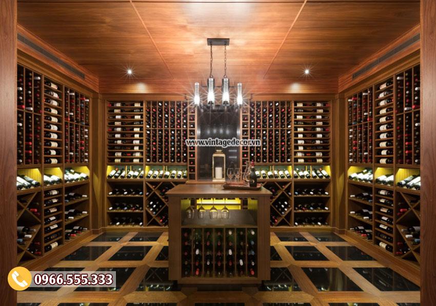 Mẫu thiết kế hầm rượu vang gỗ gụ đẹp HR50