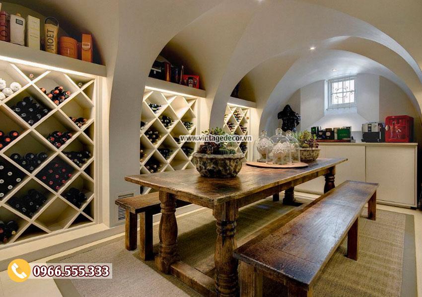 Mẫu thiết kế hầm rượu vang trong nhà HR52