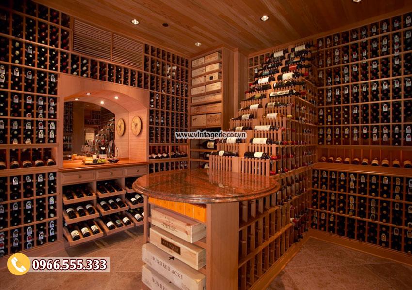 Mẫu thiết kế hầm rượu vang trong nhà đẹp HR20
