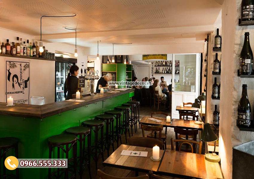 Mẫu thiết kế quán bar rượu vang cổ điển BR06