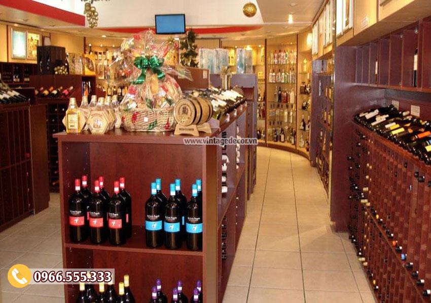 Mẫu thiết kế cửa hàng trưng bày rượu vang đẹp CHR05