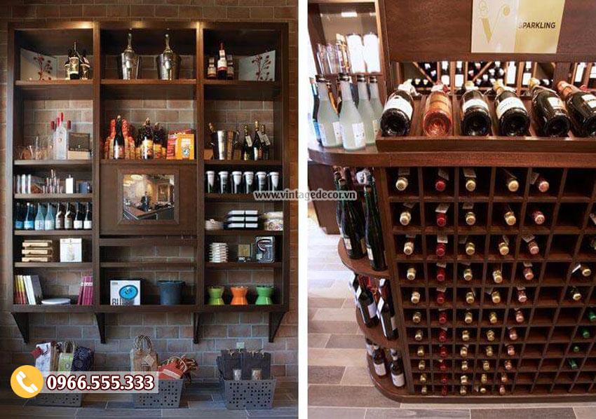 Mẫu thiết kế showroom rượu gỗ gụ sang trọng CHR09