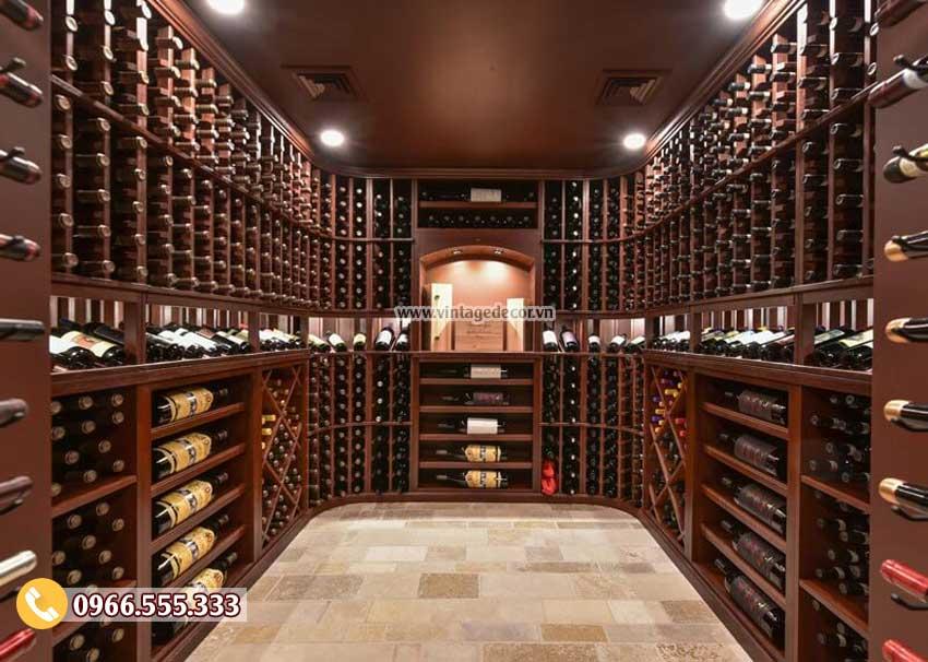 Mẫu hầm rượu vang gỗ thông tự nhiên HR09
