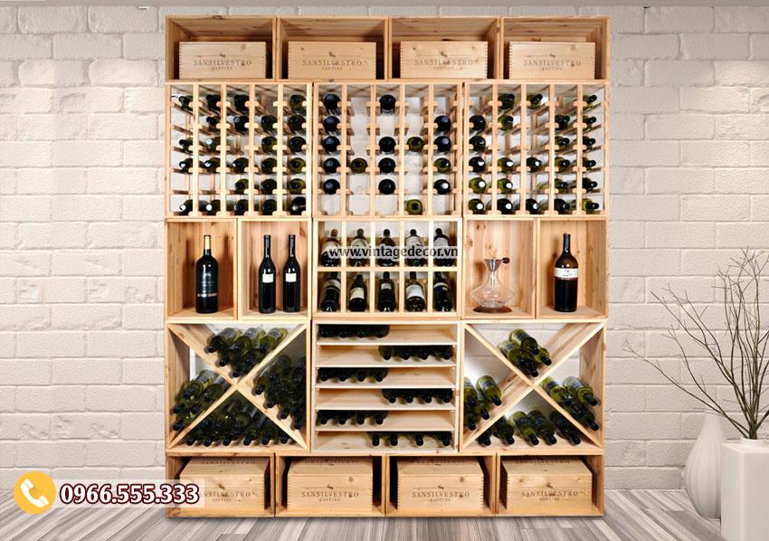 Mẫu kệ trưng bày rượu vang tùy chỉnh TBR03