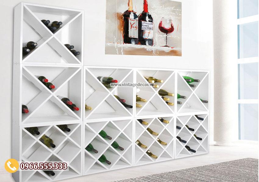 Mẫu kệ trưng bày rượu vang tùy chỉnh TBR05