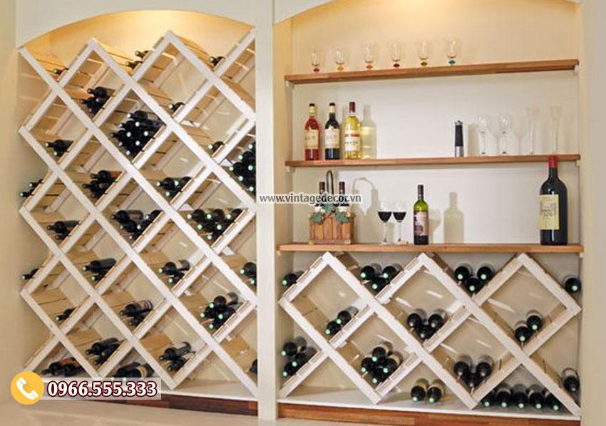 Mẫu kệ trưng bày rượu vang âm tường TBR16