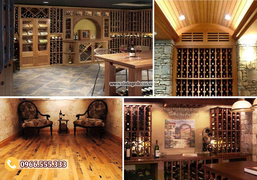 Ốp gỗ trong hầm rượu vang