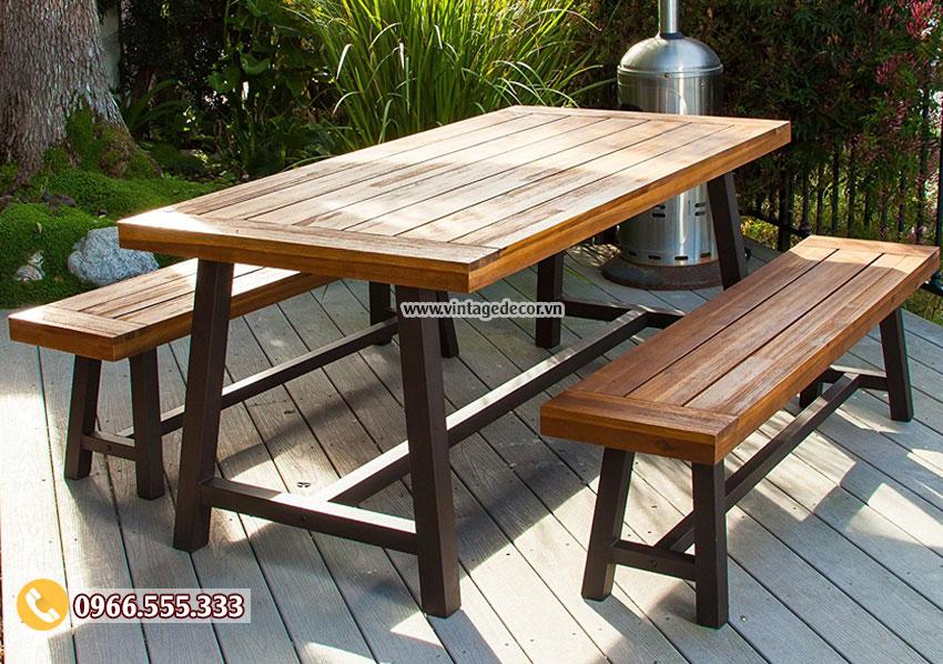Mẫu bàn ghế ngoài trời gỗ thông nhập khẩu BG47