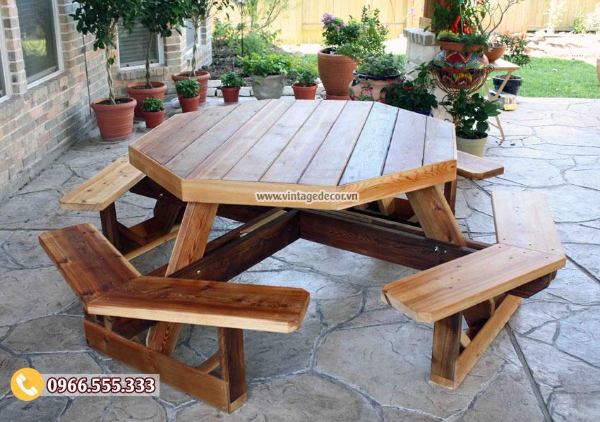 Mẫu bộ bàn ăn liền ghế gia đình BG46