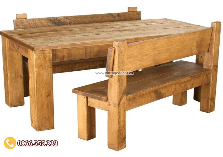 Mẫu bộ bàn ghế retro cổ điển gỗ thông mới BG49