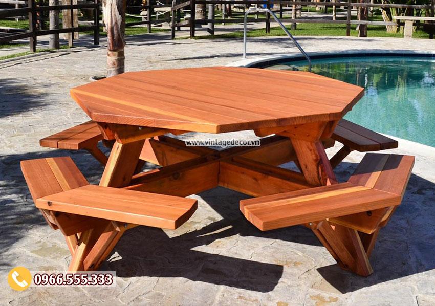 Mẫu bộ bàn liền ghế ngoài trời đẹp BG52