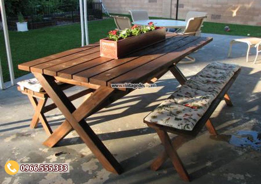 Mẫu bộ bàn ghế gỗ thông nhập khẩu đẹp BG54