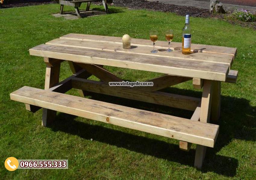 Mẫu bộ bàn liền ghế trang trí ngoài trời BG56