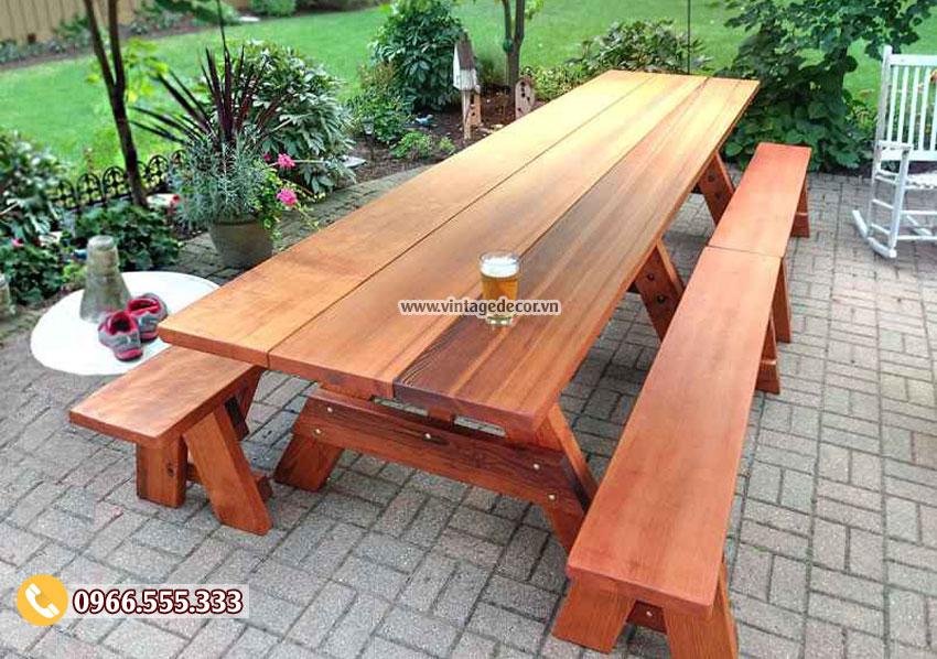 Mẫu bộ bàn ghế băng gia đình đẹp BG60