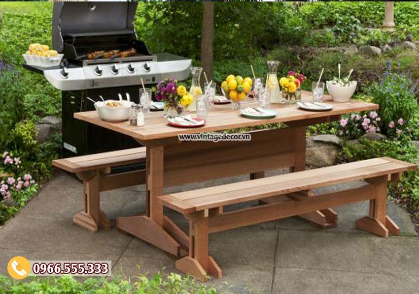 Mẫu bộ bàn ghế ăn gia đình ngoài trời BG66