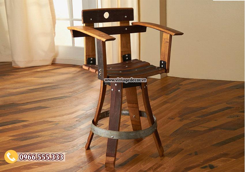 Mẫu ghế Bar từ thùng rượu DL04
