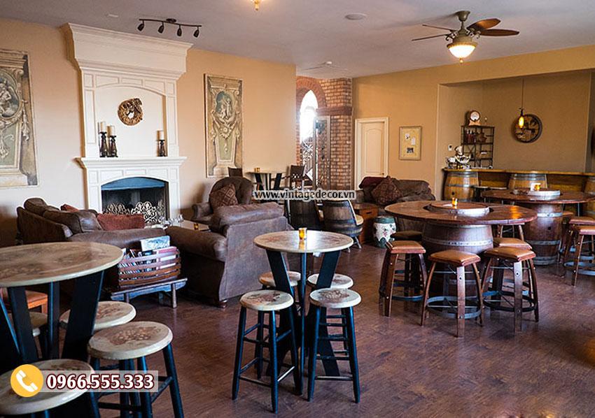 Mẫu bộ bàn ghế thùng rượu quán Bar DL17
