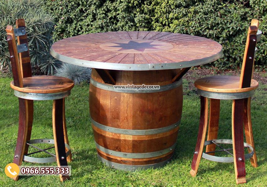 Mẫu bộ bàn ghế thùng rượu trang trí ngoài trời DL22
