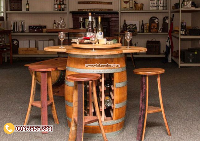 Mẫu bộ bàn ghế thùng rượu cổ điển DL23