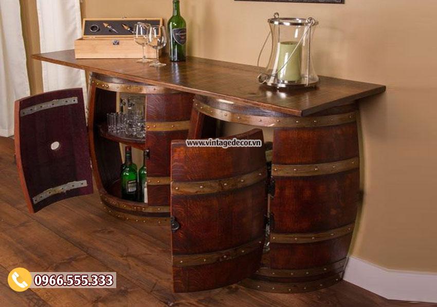 Mẫu bàn thùng rượu đôi DL07