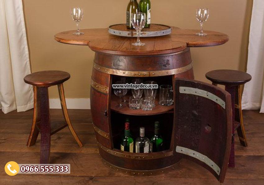 Mẫu bộ bàn ghế thùng rượu DL08