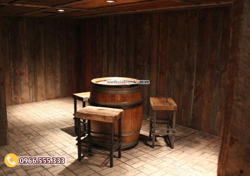 Bộ bàn ghế thùng rượu phong cách cổ điển BG30
