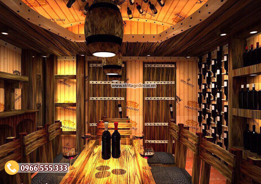 Mẫu nhà hàng rượu vang gỗ thông nhập khẩu BR62
