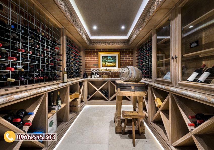 Mâu thiết kế hầm rượu vang mini HR64