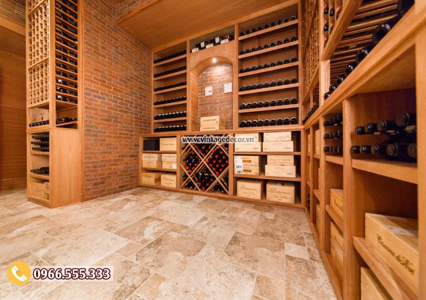 Mẫu thiết kế hầm rượu vang gỗ gụ đẹp HR72