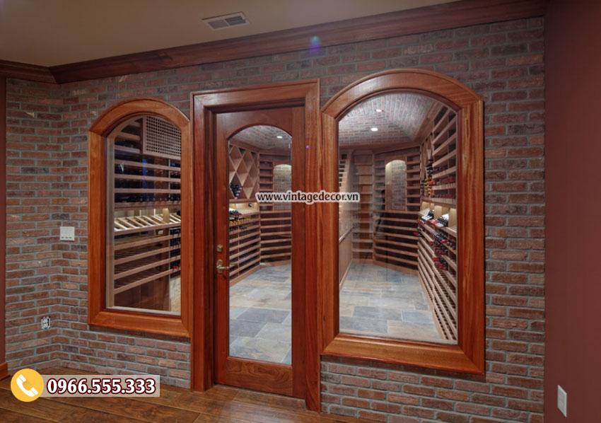 Mẫu thiết kế hầm rượu vang gỗ gụ đẹp HR80