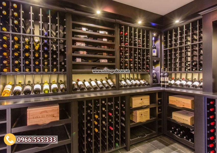 Mẫu thiết kế hầm rượu vang gỗ sồi đẹp HR86