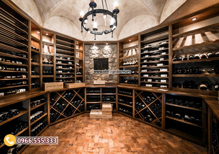 Mẫu thiết kế hầm rượu cổ điển gỗ sồi HR88