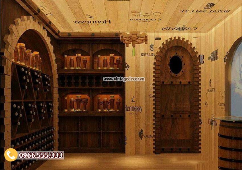 Mẫu thi công hầm rượu vang cổ điển đẹp HR97