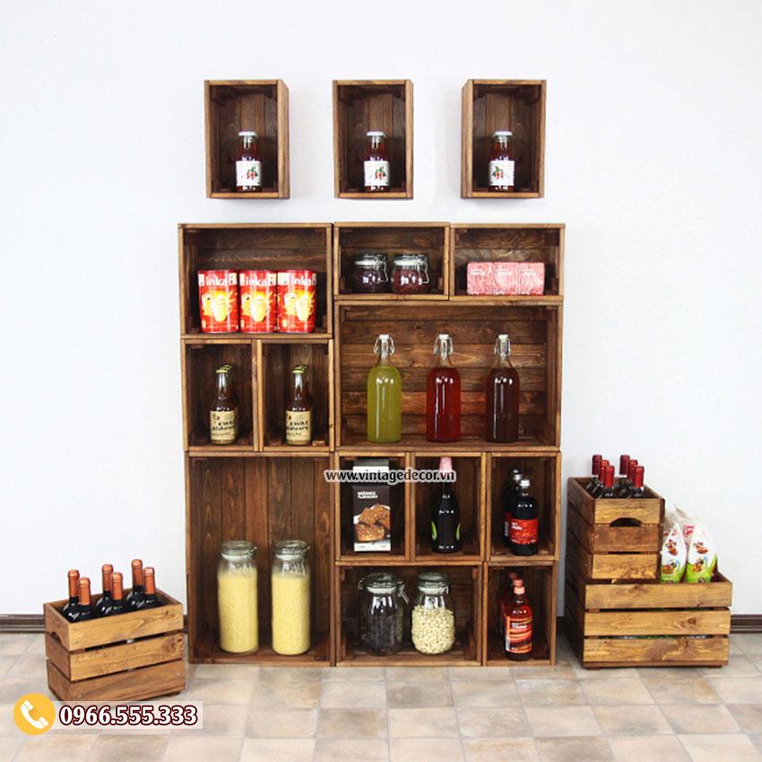 Mẫu kệ lưu trữ rượu vang gỗ thông TBR35