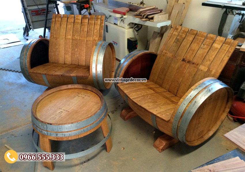 Mẫu bộ bàn ghế Sofa từ thùng rượu gỗ sồi DL29
