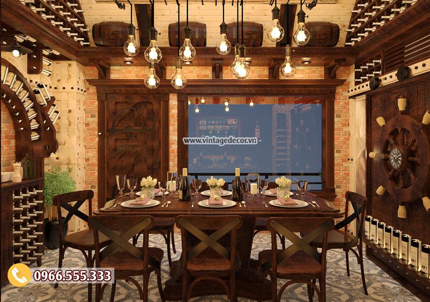Mẫu thiết kế phòng Vip nhà hàng hầm rượu vang BR54