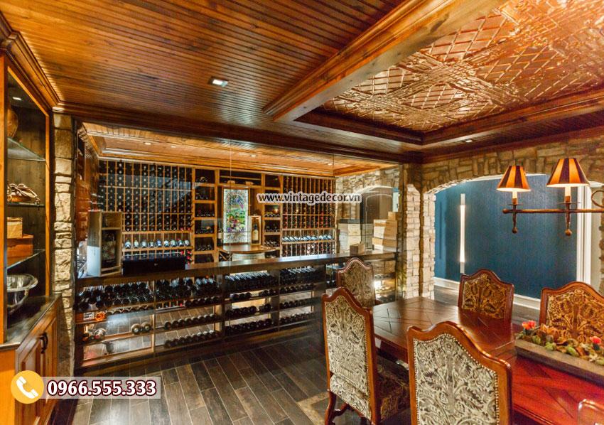 Mẫu phòng Vip nhà hàng rượu vang cổ điển đẹp BR38