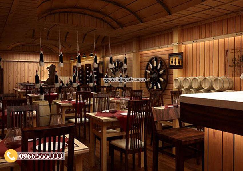 Mẫu thiết kế nhà hàng rượu vang gỗ tự nhiên đẹp BR41